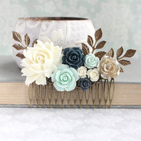Floral Hair Comb Bridal Hair Piece Mint and Navy Wedding Ivory Cream Rose Comb Vintage Inspired Bridesmaids Gift Flowers For Hair Gold Rose