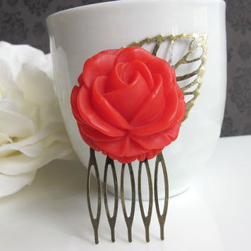 Large Red Rouge Rose Bud on Leaf. Antique Bronze Hair Comb. Woodlands Autumn Inspired Bridal Wedding Bridesmaid Gift. Floral Hair Accessory