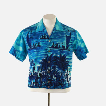 Vintage 60s Men's HAWAIIAN SHIRT / 1960s Blue Cotton Novelty Natives and Settlers Print Shirt-Jac M - L