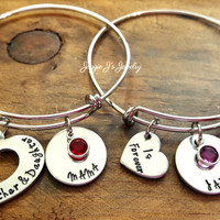 The Love Between A Mother & Daughter Is Forever bangle bracelet set, Mother and Daughter gift set with adjustable bangles, Gift for Mom
