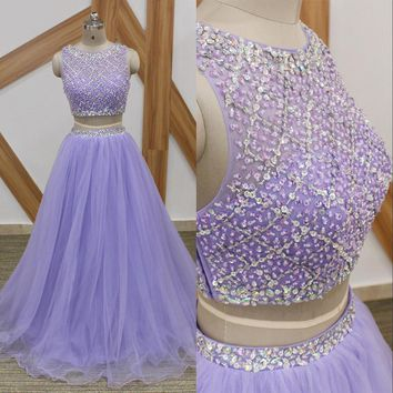 Lavender Long Prom Dresses Sparkly Beaded Top 2 Pieces Prom Dress 2018 Custom Made A Line Crop Top Tulle Arabic Party Gowns