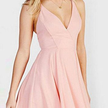 Pink Plunging V-Neckline Strappy Cut-Out Back Skater Dress