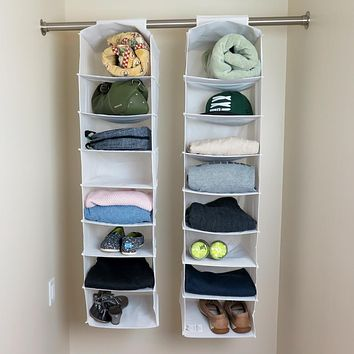 Evelots Long Hanging Closet Shelf-Organizer-Clothing/Shoes-8 Shelves Each