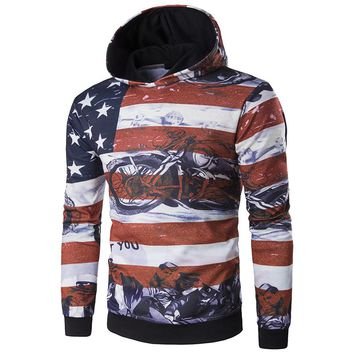 American Flag Biker Stamp Hoodies - Men's Novelty Pullover Hoodie