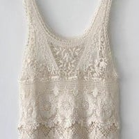 Summer Days Crochet Lace Tank Top in Cream | Sincerely Sweet Boutique