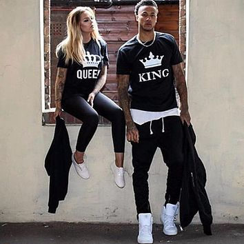 2019 NEW Funny KING QUEEN Letter Printed Black Tshirts OMSJ Summer Casual Cotton Short Sleeve Tees Tops Brand Loose Couple Tops