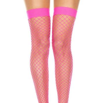 Pink (Hot) Diamond Fishnet Spandex Thigh High