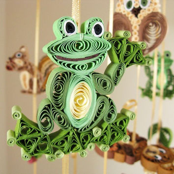 Crib Mobile - Animals Mobile - Forest Mobile – Quilled Woodland Owl Frog Fox Raccoon Bear Hedgehog Hare Squirrel -  QuilIing Handmade 17A