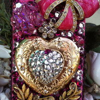 Pink bow, bling heart iPhone 4/4s cover