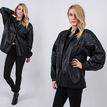 vintage 80s black leather sequin bomber jacket new wave grunge