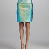 Iridescent Leather Pencil Skirt