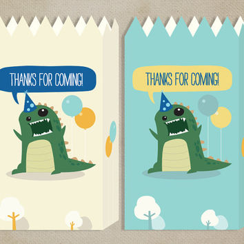 Printable Party Favour Bags: Dinosaur [Instant Download]
