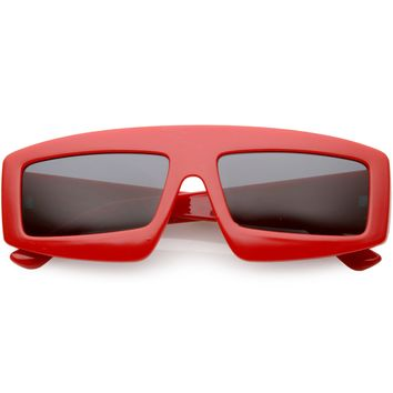 Futuristic Retro Rectangle Block Flat Lens Sunglasses C752
