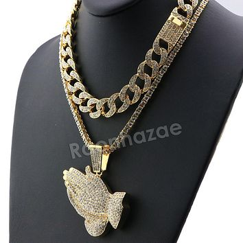 Hip Hop Quavo PRAYING HANDS Miami Cuban Choker Tennis Chain Necklace L03