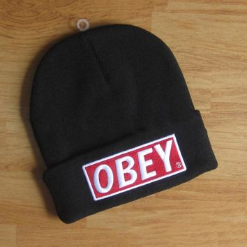 OBEY Hip Hop Women Men Beanies Winter Knit Hat Cap