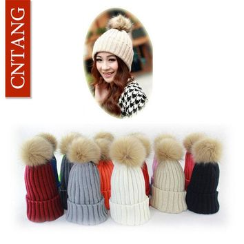LMFUNT 2016 Women Faux Rabbit Fur Hats Fashion Winter Beanies Female Knitted Warm Caps For Women Brand Pompon Hat Crochet Casual Cap