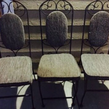 Vintage Set of 3 Rare Wrought Iron Bistro Chairs with upholstery