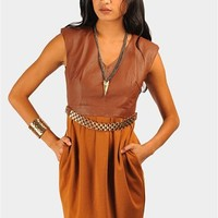 Gladiator Belted Leather Dress - Brown at Necessary Clothing