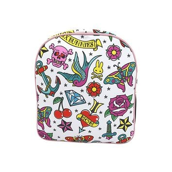 Six Bunnies Girly Tattoo Flash Little Girl Punk rock princess Backpack