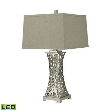 Woven Metal Thread LED Table Lamp in Silver Leaf