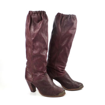 Zodiac Leather Boots Vintage 1970s Burgundy Stacked Heel Slouch Women's size  8 1/2