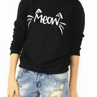 Meow Cute Cats Letters Printed Long Sleeve Sweatshirts