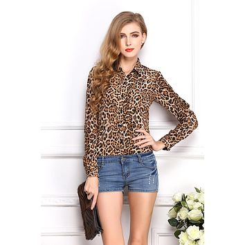 Fashion Designed Leopard Pattern Temperament Underwear Long Sleeve Female Chiffon Shirt /Blouse