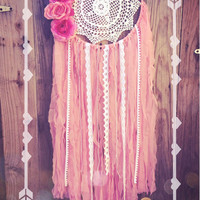 Pink & White Lace Floral Crochet Doily Boho Shabby Chic Gypsy Dreamcatcher // Baby Nursery Decor // Wedding Decor // Home Decor