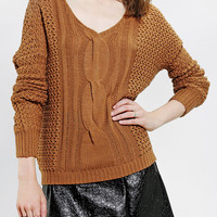 Urban Outfitters - byCORPUS Open-Stitch V-Neck Sweater
