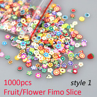 New 1000Pcs Mixed Design Fruit Flower Fimo Slice Nail Tips Stickers 3D Nails Art Fimo Decoration Sticker On Nail Art Accessories