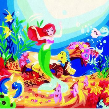 HQ aquarium fish cartoon mermaid Picture On Wall Acrylic coloring Paint By Number for kids Diy Painting By Numbers Children Gift