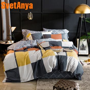 Svetanya Plaid Bedding Sets Egyptian Cotton Sheet Pillowcases Duvet cover set Twin Queen King Double Size