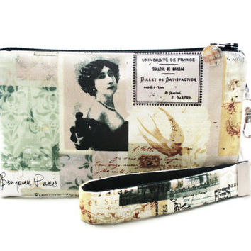 Bonjour Paris wristlet / makeup bag / small clutch / zipper pouch & detachable key fob gift set for women  in antique Victorian style fabric