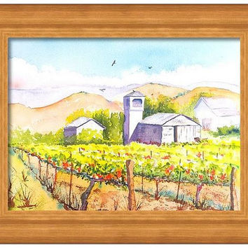 Original Watercolor Vineyard Farm house landscape painting, 11x14, winery watercolor, California agriculture