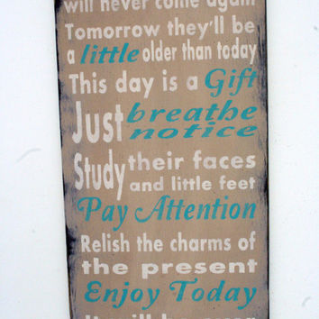 Custom Sign Wood Sign Home Decor Shabby Chic Rustic Vintage Childrens Sign Distressed Wood Tan Turquoise White This Day With Our Children