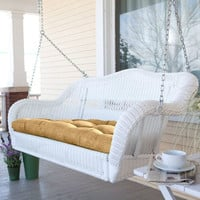 White Resin Wicker Porch Swing with Comfort Spring and Hanging Hooks and Sand Cushion