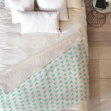 Allyson Johnson Minty Triangles Fleece Throw Blanket