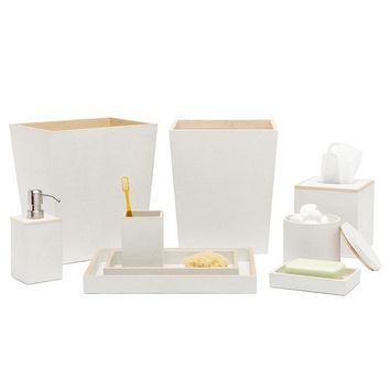Manchester Faux Shagreen Bathroom Accessories (Snow)