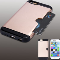 Luxury Armor Shockproof Case For Apple iphone 6 Dual Hard Back Cover With One Card Holder Mobile Phone Cover For iphone 6 4.7''