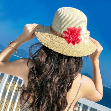 Women Wide Brim Sun Caps Floral Design Patchwork Foldable Beach Straw Hat UPF50+ Outdoor Seaside Sunshade Floppy Sports Hats