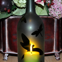 Frosted Dragonfly Wine Bottle Hurricane Candle Lamp by TipsyGLOWs