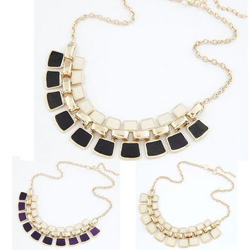 Chunky Statement Bib Necklace - Black, White, Purple
