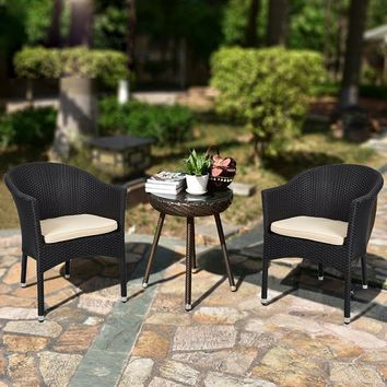 Simple Design Outdoor Patio Garden Furniture Rattan Chair with Cushions,Set of 2