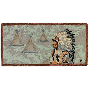 Indian Chief 2' X 4' Hooked Wool Rug