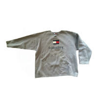 RESERVED Vintage 90s Tommy Hilfiger Classic Logo Gray Pullover Sweatshirt