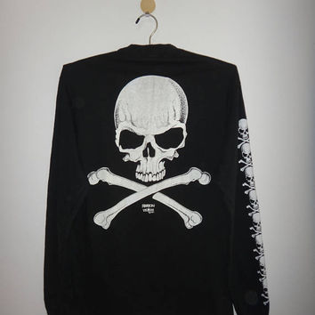 SALE Christmas Xmas Vintage Fashion Victim 1991 Long Sleeve T Shirt Skull Bones Art Motorcycle Metal