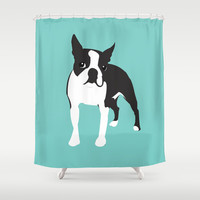 BOSTON TERRIER - Blue Shower Curtain by Sian Murray Art