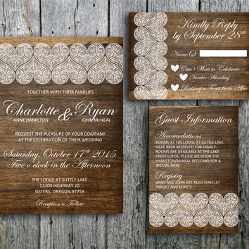 Rustic Wedding Invitation Suite with Lace on Wood - Printable Wedding Invitation, RSVP and Guest Information Card