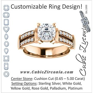 Cubic Zirconia Engagement Ring- The Rachana (Customizable Cushion Cut Design with Wide Split-Pavé Band and Euro Shank)