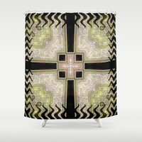 Zlata Geometrica Shower Curtain by Webgrrl